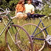 Young Adults Teenagers Field Date Bikes Art Print