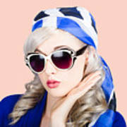 Young Beautiful Retro Girl In Glasses Art Print