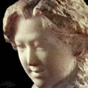Young Girl-part-arttopan Carving-realistic Stone Sculptures-marble Art Print
