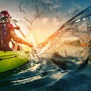 Young Lady Paddling Hard The Kayak With Art Print