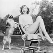 Young Woman And Her Pushy Pet Dog Art Print