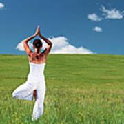 Young Woman Practicing Yoga Art Print