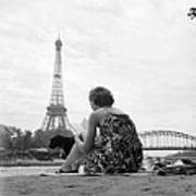 Young Woman Taking In The Sun On The Art Print