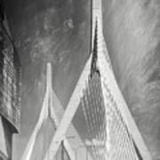 Zakim Bridge Boston Massachusetts Black And White Art Print