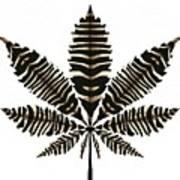 Zebra Pattern Marijuana Leaf 2 Art Print
