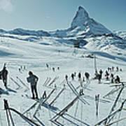Zermatt Skiing Art Print