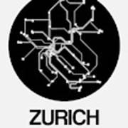 Zurich Black Subway Map Art Print
