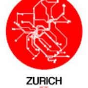 Zurich Red Subway Map Art Print