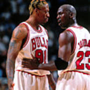 Dennis Rodman and Michael Jordan Art Print