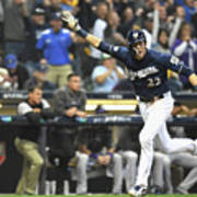 Mike Moustakas And Christian Yelich Art Print