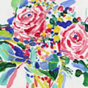 Rose flowers oil painting, roses bouquet still life, botanical still life, impressionism flower art Art Print
