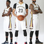 Demarcus Cousins, Jrue Holiday, and Anthony Davis Art Print