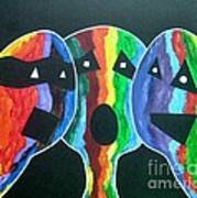 3- Head Singing Trio Art Print