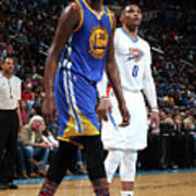 Kevin Durant and Russell Westbrook Art Print