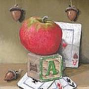 A is for Apple Acorns and Aces Art Print
