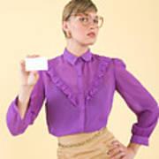 A woman holding a business card Art Print