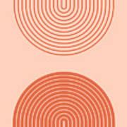 Abstract contemporary aesthetic background with geometric balance shapes, rainbow gates. Boho wall decor. Mid century modern minimalist neutral art print. Organic shape. Terracotta color, earth tone. Art Print