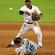 Adeiny Hechavarria And Kyle Seager Art Print