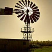 American-style windmill in backlight Art Print