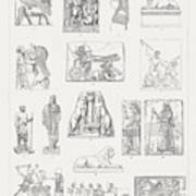 Ancient European And Middle East Sculptures, Wood Engravings, Published 1897 Art Print