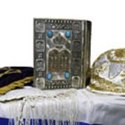 Antique Jewish Bible, Yarmulka & Tallis Art Print