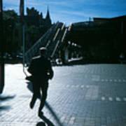 Australia, Sydney, Man Running Across City Square Art Print
