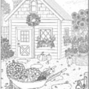 Autumn Cottage Coloring Page Art Print
