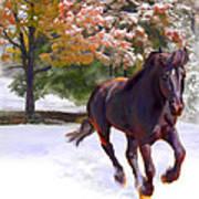 Black Stallion In Fall Snow Fantasy Art Art Print