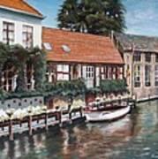 Bruges Boat in Belgium Art Print