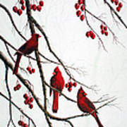 Cardinals And Crabapples Art Print