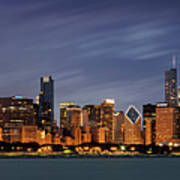 Chicago Skyline at Night Color Panoramic Art Print