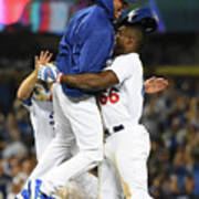 Clayton Kershaw and Yasiel Puig Art Print