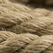 Close-up of an old frayed boat rope as a background Art Print