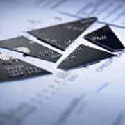 Close up of cut pieces of credit card Art Print