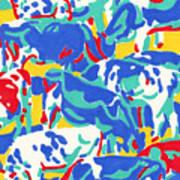 Cow herd abstract original oil painting Art Print
