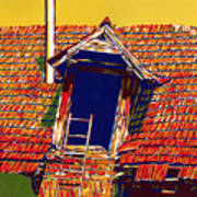 Dark window in old sunlit roof countryside house architecture landcape Art Print