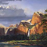 Deer Meadow Mountains Western stream Deer waterfall Landscape Oil Painting stormy sky snow scene Art Print