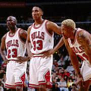 Dennis Rodman, Scottie Pippen, and Michael Jordan Art Print