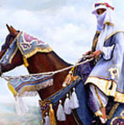 Desert Arabian Native Costume Horse And Girl Rider Art Print