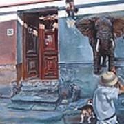 Elephant Hunter's Hallucination Art Print