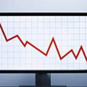 Falling financial graph Art Print