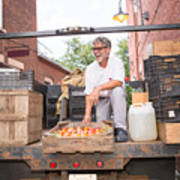 Farmer unloading crates of organic tomatoes outside grocery store Art Print