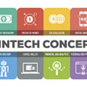 Fintech Concept Colorful Icons Set Art Print