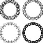 Flower ornamental rings Art Print