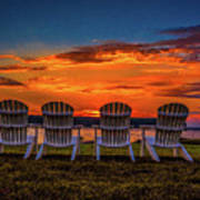 Four Chairs at Sunset in Door County Art Print