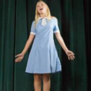 Girl singing on stage Art Print