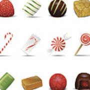 Holiday Candy Icons Art Print
