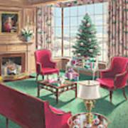 Illustration Of A Christmas Living Room Scene Art Print