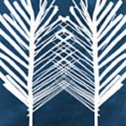Indigo and White Leaves- Abstract Art Art Print