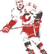 Jarome Iginla Calgary Flames Watercolor Strokes Pixel Art 1 Mixed Media By Joe Hamilton